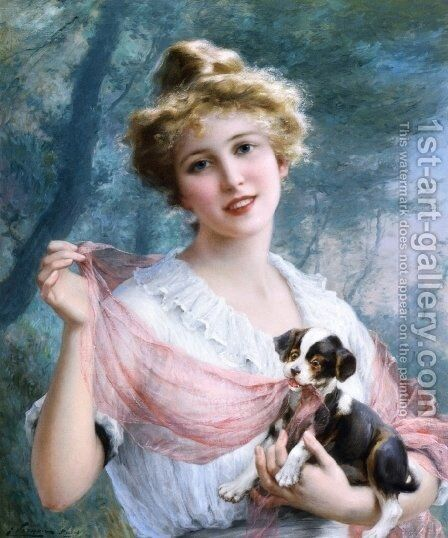 The Mischievous Puppy by Emile Vernon - Reproduction Oil Painting