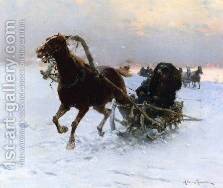 Sledding Caravan by Alfred Wierusz-Kowalski - Reproduction Oil Painting