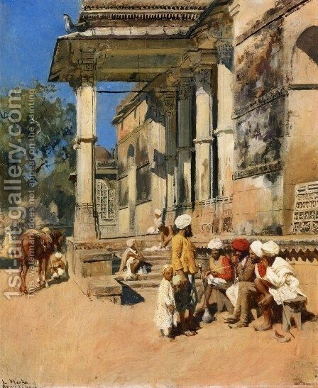 Portico of a Mosque, Ahmedabad by Edwin Lord Weeks - Reproduction Oil Painting