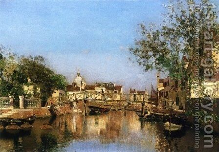 A Canal near the Isle of Giudecca, Il Redentore in the Distance by Martin Rico y Ortega - Reproduction Oil Painting