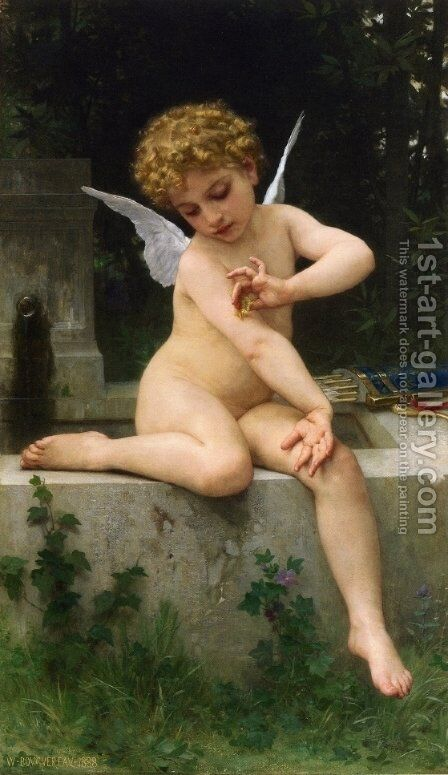 Cupid with Butterfly by William-Adolphe Bouguereau - Reproduction Oil Painting