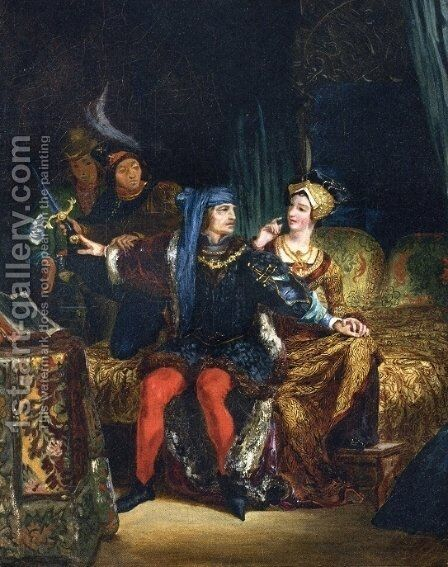 Charles VI and Odette de Champdivers by Eugene Delacroix - Reproduction Oil Painting