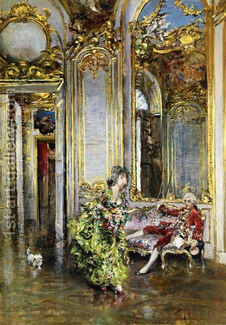 A Friend of the Marquis by Giovanni Boldini - Reproduction Oil Painting