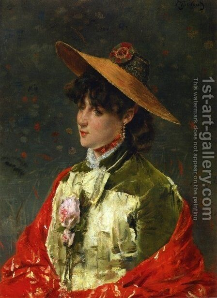 Woman in a Straw Hat by Alfred-Emile-Leopole Stevens - Reproduction Oil Painting