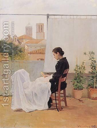 Cosiendo by Joan Llimona y Bruguera - Reproduction Oil Painting