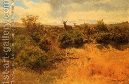 Stag and Doe in a Landscape by Rosa Bonheur - Reproduction Oil Painting