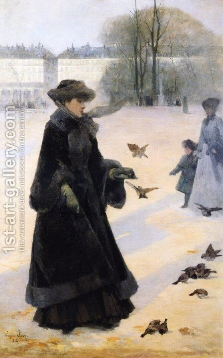Winter Morning in the Tuileries Gardens, Paris by Jean Eugene Clary - Reproduction Oil Painting