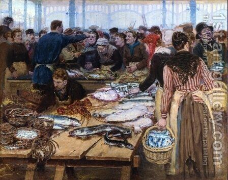 Fish Auction at Les Halles by Edouard-Jean Dambourgez - Reproduction Oil Painting