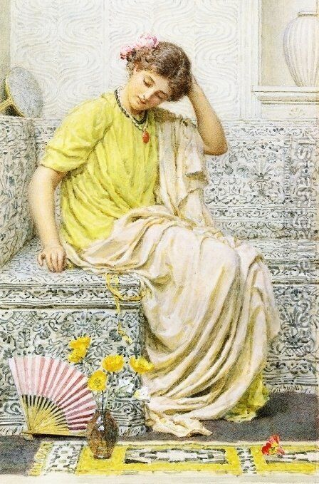 Hairpins by Albert Joseph Moore - Reproduction Oil Painting
