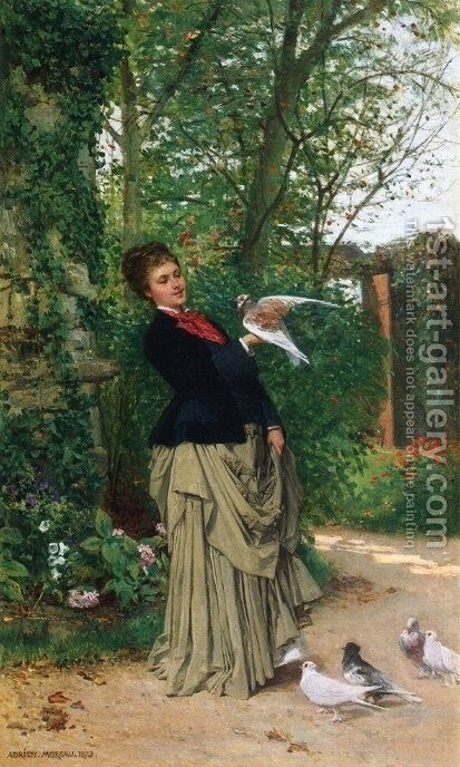 The Favorite Bird by Adrien Moreau - Reproduction Oil Painting