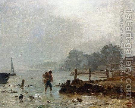 Fisherman by Constant Troyon - Reproduction Oil Painting