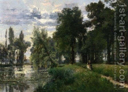 Walking by the River by Alexandre-Rene Vernon - Reproduction Oil Painting