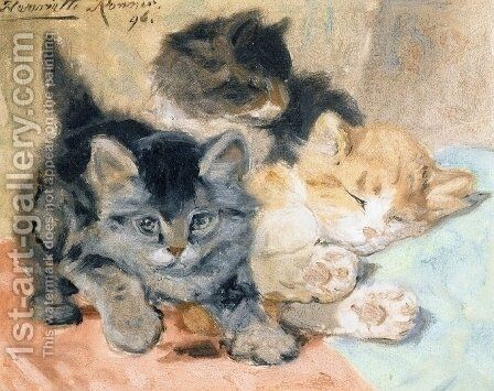 Three Kittens by Henriette Ronner-Knip - Reproduction Oil Painting
