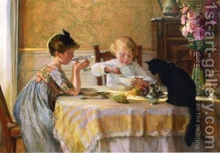Snack Time by Angele Blanche Denvil - Reproduction Oil Painting
