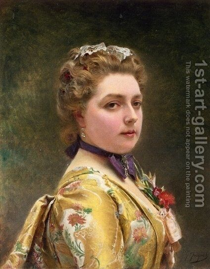 Portrait of a Lady 2 by Gustave Jean Jacquet - Reproduction Oil Painting