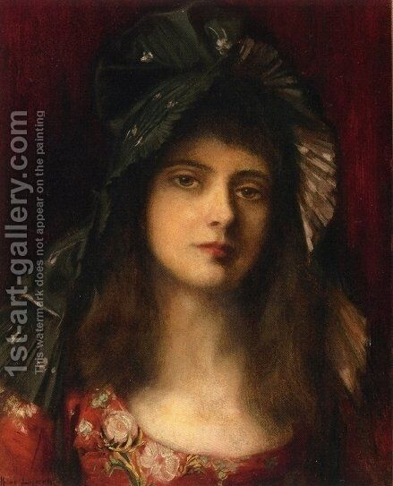 The Green Bonnet by Albert Lynch - Reproduction Oil Painting