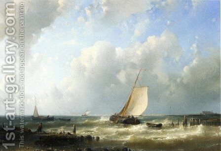Fishing Boats Setting Out by Abraham Hulk Snr - Reproduction Oil Painting
