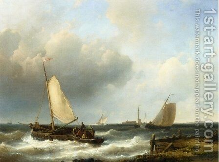 Shipping of the Dutch Coast by Abraham Hulk Snr - Reproduction Oil Painting