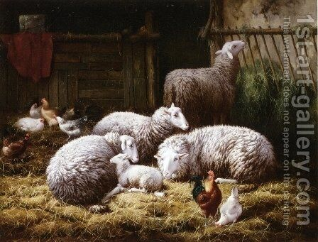 Sheep, Roosters and Chickens in a Barn by Theo van Sluys - Reproduction Oil Painting