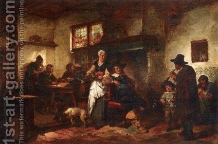A Tavern Scene by Herman Frederik Carel ten Kate - Reproduction Oil Painting