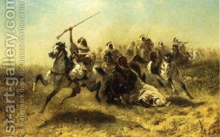 The Charge by Adolf Schreyer - Reproduction Oil Painting