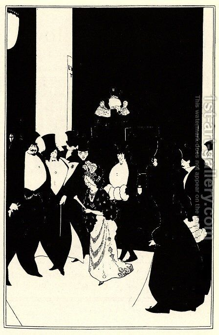 Lady Gold's Escort by Aubrey Vincent Beardsley - Reproduction Oil Painting