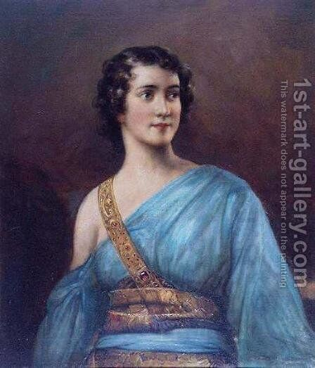 Lady in Blue by Edouard Bisson - Reproduction Oil Painting