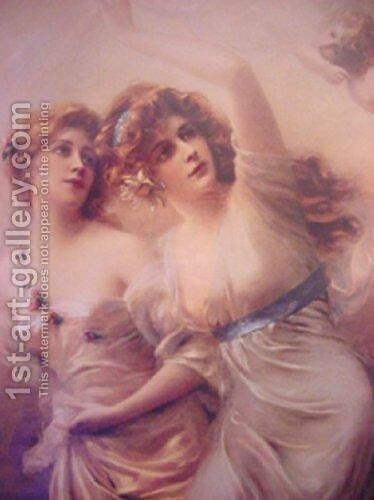 Two Maidens by Edouard Bisson - Reproduction Oil Painting