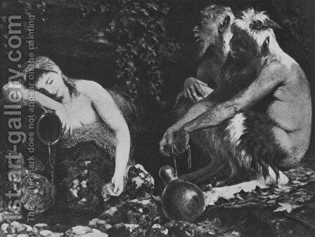 Fauns and Sleeping Nymph by Arnold Böcklin - Reproduction Oil Painting