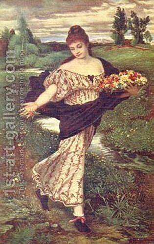 Flora spreading Flowers by Arnold Böcklin - Reproduction Oil Painting