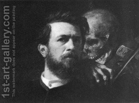 Self-portrait with Death Playing the Fiddle (detail) by Arnold Böcklin - Reproduction Oil Painting