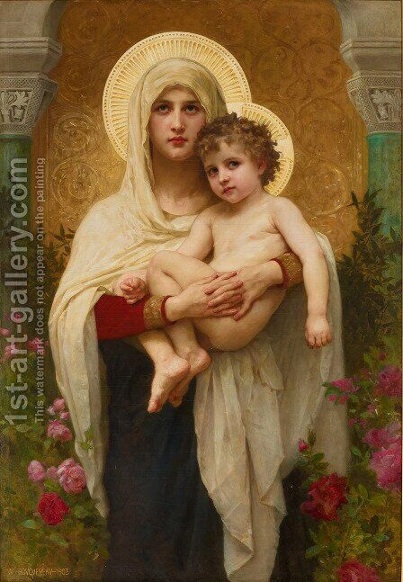 The Madonna of the Roses by William-Adolphe Bouguereau - Reproduction Oil Painting