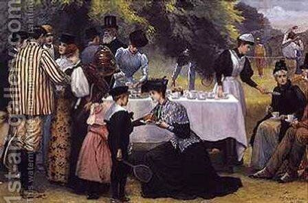 Wimbledon Tennis Party by Edward Frederick Brewtnall - Reproduction Oil Painting