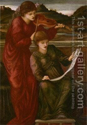 Music by Sir Edward Coley Burne-Jones - Reproduction Oil Painting