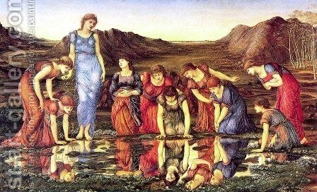 The Mirror of Venus I by Sir Edward Coley Burne-Jones - Reproduction Oil Painting