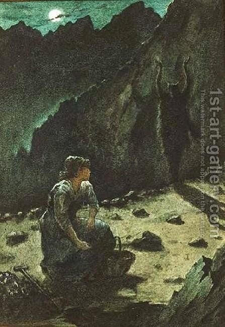 The Apparition on the Streckelberg (Illustration for Meinhold's 'The Amber Witch') by Sir Philip Burne-Jones - Reproduction Oil Painting
