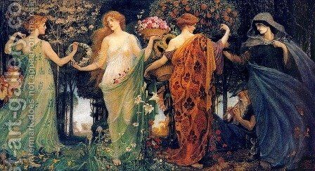 The Masque of the Four Seasons by Walter Crane - Reproduction Oil Painting