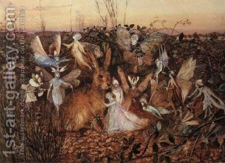 Rabbit Among the Fairies by John Anster Fitzgerald - Reproduction Oil Painting