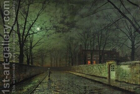 Moonlight After Rain by John Atkinson Grimshaw - Reproduction Oil Painting