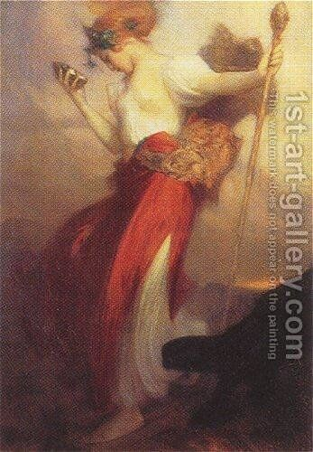 A Bacchante by Arthur Hacker - Reproduction Oil Painting