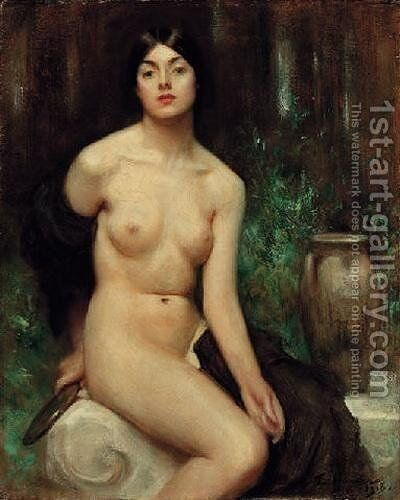 A Female Nude at her toilet by Arthur Hacker - Reproduction Oil Painting
