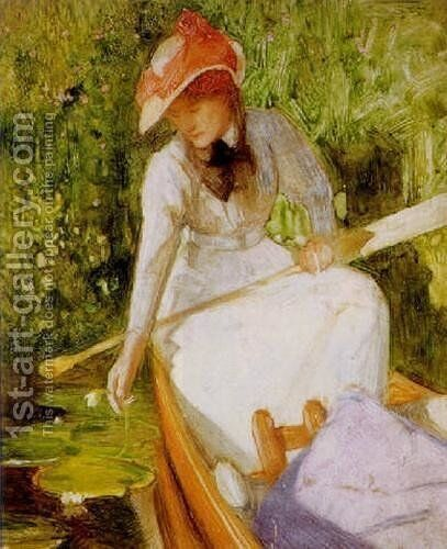 A quiet cove, girl canoeing by Arthur Hacker - Reproduction Oil Painting
