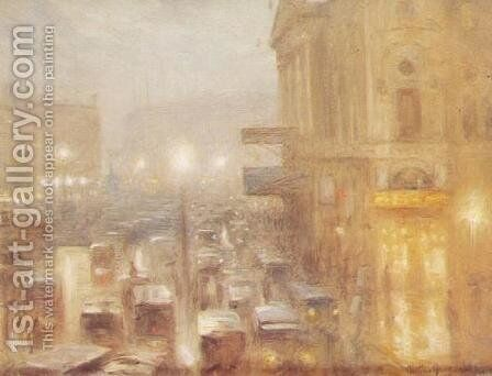 Matinee afternoon, Picadilly Circus (study) by Arthur Hacker - Reproduction Oil Painting