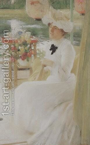 On the Houseboat by Arthur Hacker - Reproduction Oil Painting