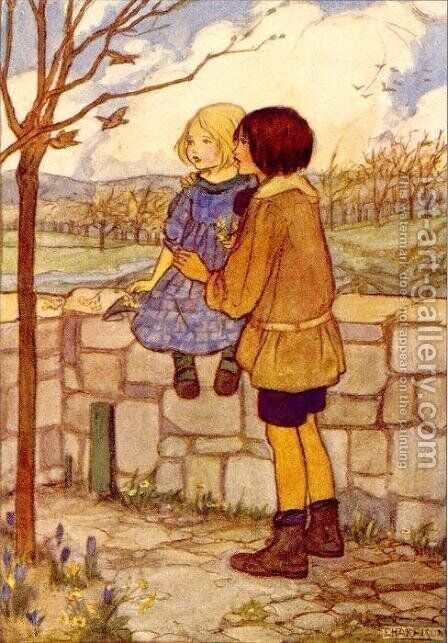 Child's Talk in April by Emma Florence Harrison - Reproduction Oil Painting