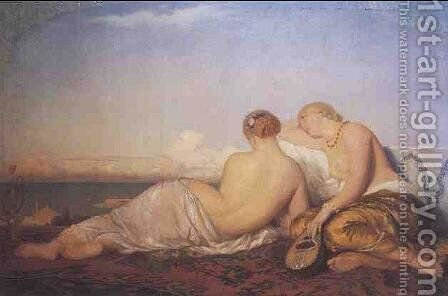 Two odalisques gazing at the Bosphorus. by Antoine Auguste Ernest Hebert - Reproduction Oil Painting