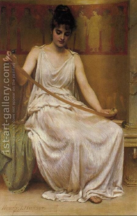 Neaera Reading a Letter from Catullus by Henry John Hudson - Reproduction Oil Painting