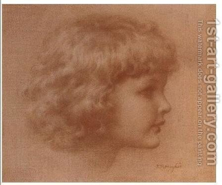 Head of a child by Edward Robert Hughes R.W.S. - Reproduction Oil Painting