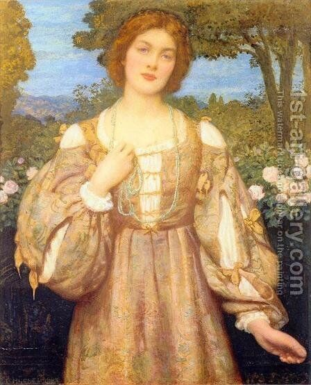 Monna Giovanna by Edward Robert Hughes R.W.S. - Reproduction Oil Painting