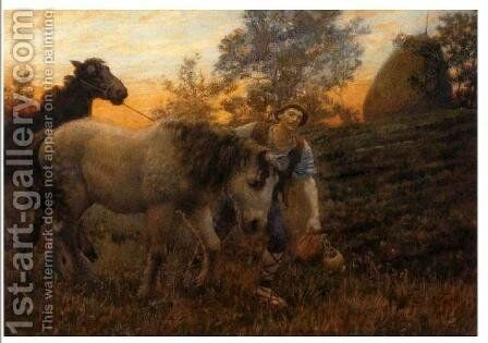 Returning Home by Edward Robert Hughes R.W.S. - Reproduction Oil Painting